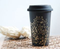 Hand Painted Ceramic Eco-Friendly Travel Mug - Gold Babys Breath Collection - Limited Edition - made to order
