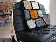 Boho Throw color blocks crochet blanket knitting by Franellie