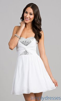 Short Strapless Dress with Sequin Bodice by B Darlin at SimplyDresses.com