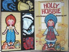 Holly Hobbie Colorforms- I played with this all the time, layering on the clothes, mixing and matching. The yellow outfit was my favorite.