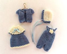 "Miniature toddler baby outfit for 3.5""-4"" doll, hand-knitted doll clothing"
