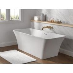 Barclay Products 5.6 ft. Acrylic Ball and Claw Feet Slipper Tub in White with Oil Rubbed Bronze Accessories-TKADTS67-WORB4 - The Home Depot Marble Vanity Tops, Wood Vanity, Vanity Sink, Basin Cabinet, Linen Cabinet, White Washed Oak, Drop In Bathtub, Carrara Marble Countertop, Bathroom Exhaust Fan