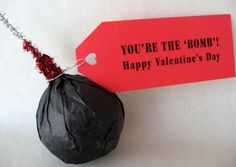 """Homemade Fizzy Bath Bomb Recipe--Bath bombs make the perfect Valentine's Day gift when packaged to look like a bomb along with a tag that says, """"You're the 'bomb'!"""""""
