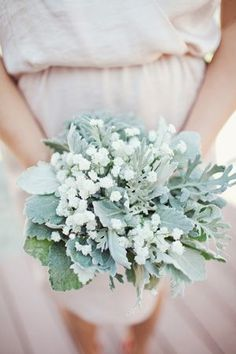 Simple But Beautiful Bridesmaid's Bouquet Featuring: Broad Leaf & Lace Leaf Dusty Miller + White Gypsophila (Baby's Breath)**** White Wedding Bouquets, Bridesmaid Bouquet, Floral Wedding, Wedding Flowers, Bridesmaids, Trendy Wedding, Mint Bouquet, Orchid Bouquet, Flower Bouquets