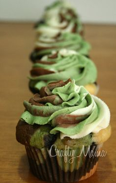 Camo Cupcakes. So cute for my boys!!! Even my husband! But yes it looks a little time consuming, but still cute!