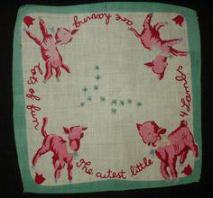The Gatherings Antique Vintage - Vintage 1940s 1950s Child Print Lamb Handkerchief, $4.00 (http://store.the-gatherings-antique-vintage.net/vintage-1940s-1950s-child-print-lamb-handkerchief/)
