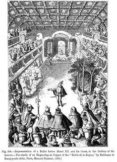 """Ludvig XIV rakasti tanssimista ja sai joidenkin lähteiden mukaan nimensä """"Aurinkokuningas"""" esitettyään aurinkoa Le Ballet de la Nuit -teoksessa 1653. Hän jatkoi tanssimista baleteissa vertauskuvallisissa rooleissa vuosien ajan kunnes tuli liian lihavaksi siihen. Lullyn balettimestari Pierre Beuchamps kehitti nykyäänkin käytössä olevat jalkojen viisi perusasentoa. Esitykset siirtyivät hovista teatteriin ja pian ne vaativat ammattiesiintyjiä."""
