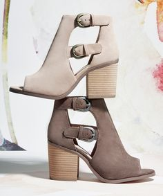 Suede peep toe booties with block heels | Sole Society Hyperion
