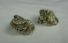 Vintage HAR Rhinestone Clip Earrings Silver Tone by TheFashionDen, $35.00