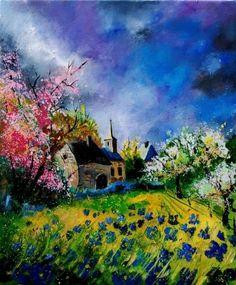 spring in boiseilles 56, painting by artist ledent pol