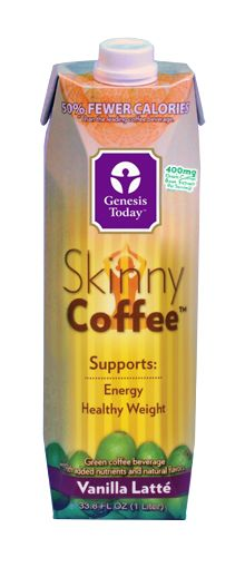 Genesis Today's Skinny Coffee™ Vanilla Latté is a rich, smooth beverage that supports healthy weight and cardiovascular function. It contains potent chlorogenic acids from green coffee beans, on of nature's most powerful antioxidants, which helps slow the release of sugar into the bloodstream and supports a healthy metabolism.*