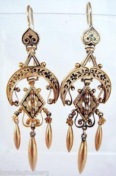 Antique Victorian Long Gold Black Enamel Earrings Mourning Ear Pendants 4601   eBay