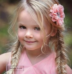 Our pink flower clip is made with sparklyfaux pearl and rhinestone gem. The flower is backed on feltfor extra comfort and attached toa clip for versatilityand accessorizing endless hairstyles. One size fits all. SHOP hair accessories little girls at http://thinkpinkbows.com/products/pinky-swear-flower-clippie | Kids Fashion