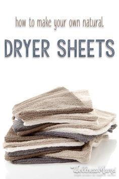 How to Make Natural Dryer Sheets | Wellness Mama #howtomakedryersheets #naturaldryersheets #homemadedryersheets #wooldryerballs #diydryersheets #whitevinegarrecipes #clothbabywipes #easydryersheets Natural Cleaning Recipes, Homemade Cleaning Products, Natural Cleaning Products, Natural Products, Diy Products, Cleaning Tips, Cleaning Supplies, Diy Cleaners, Cleaners Homemade