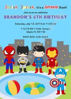Superhero pool party invitation superhero pool by jcbabycakes Pool Party Birthday Invitations, Superhero Invitations, Superhero Birthday Party, Boy Birthday, Birthday Ideas, Water Birthday, Batman Birthday, Birthday Parties, Ninja Party