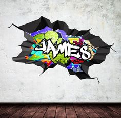 Personalised Name Full Colour Wall Decals Cracked Wall Sticker Mural Decal Graphic Wall Art Bedroom Wall Stickers by Wall Smart Designs Ltd made by Wall Smart Designs™. at BOUF Graffiti Art, Graffiti Designs, Graffiti Names, Graffiti Bedroom, Graffiti Doodles, Graffiti Styles, Childrens Wall Decals, 3d Wall Decals, Vinyl Wall Stickers
