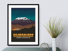 Kilimanjaro rises from the African plains to dominate the skyline for miles around. It's such an iconic trek, and I really wanted to capture life on the mountain based on my own experiences.  One of the my most vivid and magical memories is the night sky from the high camps, with the mountain summit looming overhead, reminding us how far we had to go! It was definitely a daunting sight, but those evenings were a really special time to rest, reflect, and think about the challenge ahead. Kilimanjaro, Climbers, Camps, Night Skies, All Print, Trek, Poster Prints, Challenge, Mountain