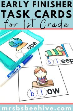 Give your students early finisher activities that are engaging and educational.  These task cards are meant to be done independently to help free up your teacher time for those students who need assistance!Help students increase beginning blends recognition with these kindergarten task cards. I'm Done Activities, Montessori Activities, Alphabet Activities, Grade 1, First Grade, Early Finishers Activities, Classroom Expectations, Phonics Games, Beginning Reading