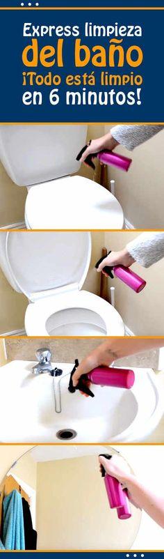 Express limpieza del baño. ¡Todo está limpio en 6 minutos! Power Clean, Clean Up, House Cleaning Tips, Cleaning Hacks, Cleaning Recipes, Limpieza Natural, Natural Cleaners, Natural Cleaning Products, Home Hacks