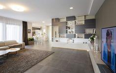 Pod velkoformátovou italskou dlažbou je podlahové vytápění, díky tepelnému čerpadlu vzduch/vzduch však může sloužit i k ochlazování interiéru v horkých dnech.