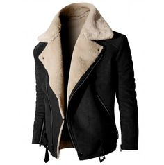 Mens jacket High Neck Suede Jacket With Zipper Point Sleeves (KMOCO014)