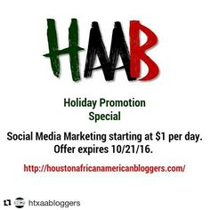 #Repost @htxaabloggers  Are you looking for some promotion for your business event product service etc then check out this Holiday Promotion Special for just $1/day. Limited offer with a deadline. Get the help and visibility in time for Black Friday. The more people who know about you the better.  http://ift.tt/2d9ME2B  #contentmarketing #socialmediamarketing #htxaab #Houston #bloggers #Christmas #Thanksgiving #BlackFriday #holidaysale #TalkativeMedia #LetUsTalkYouUp #Instagram