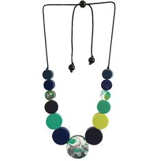 GORGEOUS HAND-POLISHED SMOOTH DISCS IN GLORIOUS TONES OF LIME EMERALD PEACOCK DARK DENIM BLUE & FRENCH NAVY. SOME OF THE BEADS ARE MARBLED WITH MIXED TONES OF THE ABOVE AND THE CORD NECKLINE IS ADJUSTABLE. Dark Denim, Blue Denim, Button Jewellery, Jewelry, Short Necklace, Aw17, Winter Season, Wind Chimes, Happy Shopping