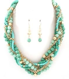 Goldtone Mint Green Beaded Multi-Strand Statement Necklace & Earrings;Free Ship!