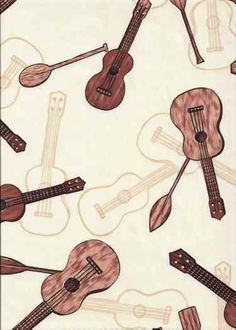 30ukulele Tropical Hawaiian ukulele instruments on a cotton apparel fabric, apparel cotton Hawaiian vintage style fabric, apparel cotton Hawaiian vintage style fabric.  More fabrics at: BarkclothHawaii.com