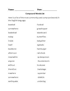 178 Compound Words Cards includes first word part coloured