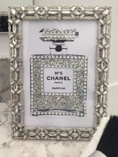 Sheffield Jeweled Framed Chanel No. 5 Perfume Bottle Glitter Bling Print Fashion Vanity Art 4 x 6 by PrintcessCharming on Etsy