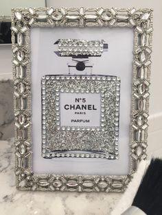 Sheffield Jeweled Framed Chanel No. 5 Perfume Bottle Glitter Bling Print Fashion Vanity Art 4 x 6 by PrintcessCharming on Etsy