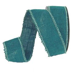 """Beachcomber Jute Ribbon Size: 1.5"""" x 10 yards Color: Turquoise Wire Edge Material:"""