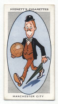 """Ogden's Cigarettes """"Association Football Club Nicknames"""" (series of 50 issued in Manchester City """"The Citizens"""" Football Stickers, Football Cards, Football Team, Soccer Players, British Football, Retro Football, European Football, Bristol Rovers, Association Football"""