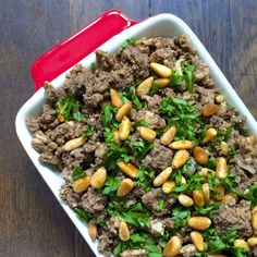 Hushwee -Lebanese ground meat cooked in clarified butter then seasoned with cinnamon and toasted pine nuts