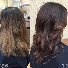 Hair by Catherine at Lexington Place in San Francisco, CA @topknottresses Chocolate Brunette Balayage color correction and haircut