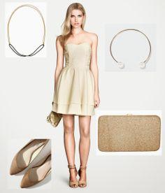 Total look en dorado con vestido de H&M  #fashion #lowcost  http://cuchurutu.blogspot.com.es/2014/05/complementos-de-boda-lowcost.html