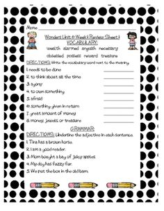 These are review sheets of Grammar and Vocabulary for Unit 6 of Grade 3 of McGraw-Hill Wonders. There are three review sheets for each of the five weeks. These are great for homework, morning work, centers, or even for intervention blocks. I am using them for Homework this year.