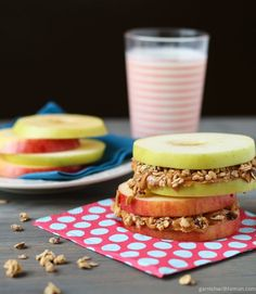 Looking for a quick and satisfying snack for the whole family? Try replacing carb heavy bread with an apple sandwich, filled with delicious and healthy almond butter and granola. Even kids will love these ‪ Breakfast And Brunch, Breakfast Recipes, Snack Recipes, Breakfast Ideas, Apple Breakfast, Breakfast Sushi, Breakfast Quesadilla, School Breakfast, Breakfast Muffins
