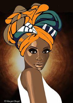 Wrapped and Beautiful, natural hair art Black Girl Art, Black Women Art, Art Girl, Black Lady, White Women, African American Art, African Art, American Lady, American Makeup