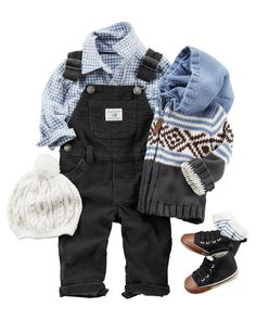 A picture-perfect (and cozy!) holiday look complete with overalls a button-front shirt and hooded Fair Isle cardigan. Add a knit toque socks and shoes for a cozy-to-his-toesies look! - Baby Boy Shoes - Ideas of Baby Boy Shoes Baby Outfits, Toddler Outfits, Kids Outfits, Baby Boy Fashion, Toddler Fashion, Kids Fashion, Newborn Boy Clothes, Cute Baby Clothes, Babies Clothes
