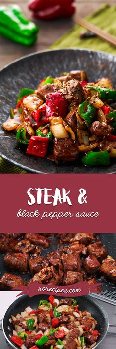 Best Black Pepper Beef Recipe | Hei Jiao Niu Liu (黑椒牛柳) Beef Chunks Recipes, Meat Recipes, Asian Recipes, Dinner Recipes, Cooking Recipes, Ethnic Recipes, Cooking Food, Chinese Stir Fry, Chinese Food