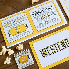 Contemporary Wedding Stationery We Tie the Knot Westend Mustard Save the Date