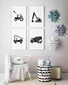 Construction Theme Set Of 4 Prints in Navy Blue is for a fast and easy set up of Toddler Boy Room Decor. This Transportation Wall Art includes Tractor Print, Tow Truck Print, Cement Mixer Truck Print and Digger Print. More Transportation Wall Art sets: Toddler Boy Room Decor, Boys Bedroom Decor, Baby Boy Rooms, Bedroom Themes, Nursery Decor, Nursery Prints, Baby Room, Kid Bedrooms, Decor Room