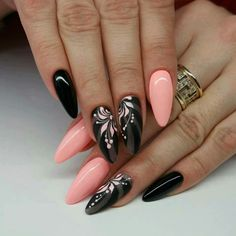 Cute pink & black nails