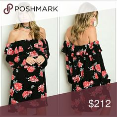 "'ROSE' Floral Dress NWOT Beautiful floral dress with off shoulder ruffle. Get your black heels out and go dancing!!  Tunic style-100%Rayon New no tags MADE IN THE USA SMALL BUST 20""across/LENGTH 30"" MEDIUM BUST 21"" across/LENGTH 30"" LARGE BUST 22"" across /LENGTH 31"" Dresses Strapless"
