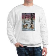 Sweatshirt Maple Syrup Pug Dogs Winter Snow Folk Art Painting