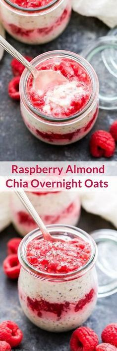 Could You Eat Pizza With Sort Two Diabetic Issues? Raspberry Almond Chia Overnight Oats Are Perfect For A Grab-And-Go Breakfast Or Snack. Make Them Tonight And Have Breakfast Waiting For You In The Morning Healthy Breakfast Recipes, Brunch Recipes, Gourmet Recipes, Healthy Snacks, Cooking Recipes, Freezer Recipes, Freezer Cooking, Healthy Breakfasts, Healthy Protein
