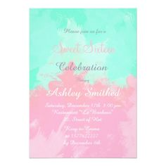 Summer Pink Teal Watercolor Sweet 16 Card #birthday #invitation. #watercolor , #celebrations, #sweetsixteen, #sweet16, #sweet16Birthday, #sweet16party, #sweet16themes, #partyideas, #invitations ,#birthday, #zazzle