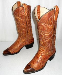 Vintage Bronco cowboy boots Distressed Tan by honeyblossomstudio